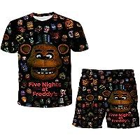 Five Nights at Freddy's T-shirt en shorts outfitset, kindertops + shorts pak 2-delig, meisjes jongens zomer korte mouwen…