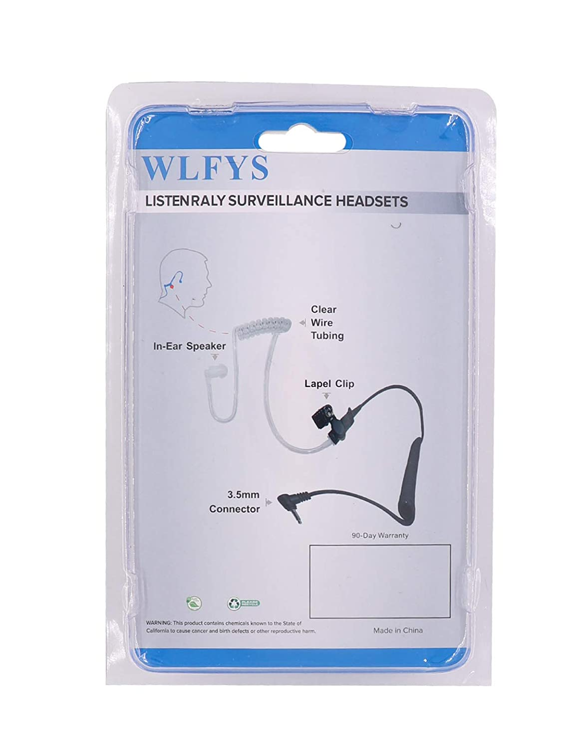 Wlfys 3.5mm Police Listen Only Acoustic Tube Earpiece with One Pair Medium Earmolds for Speaker Mics