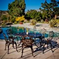 Gardena | 7 Piece Outdoor Dining Set | Rust Resistant Cast Aluminum | Perfect for Patio | in Copper