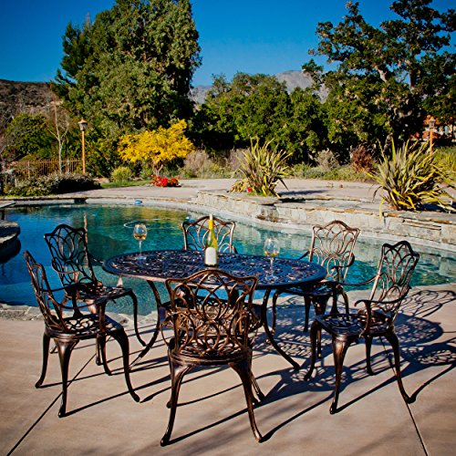 Great Deal Furniture 230488 Gardena 7 Piece Outdoor Dining Set