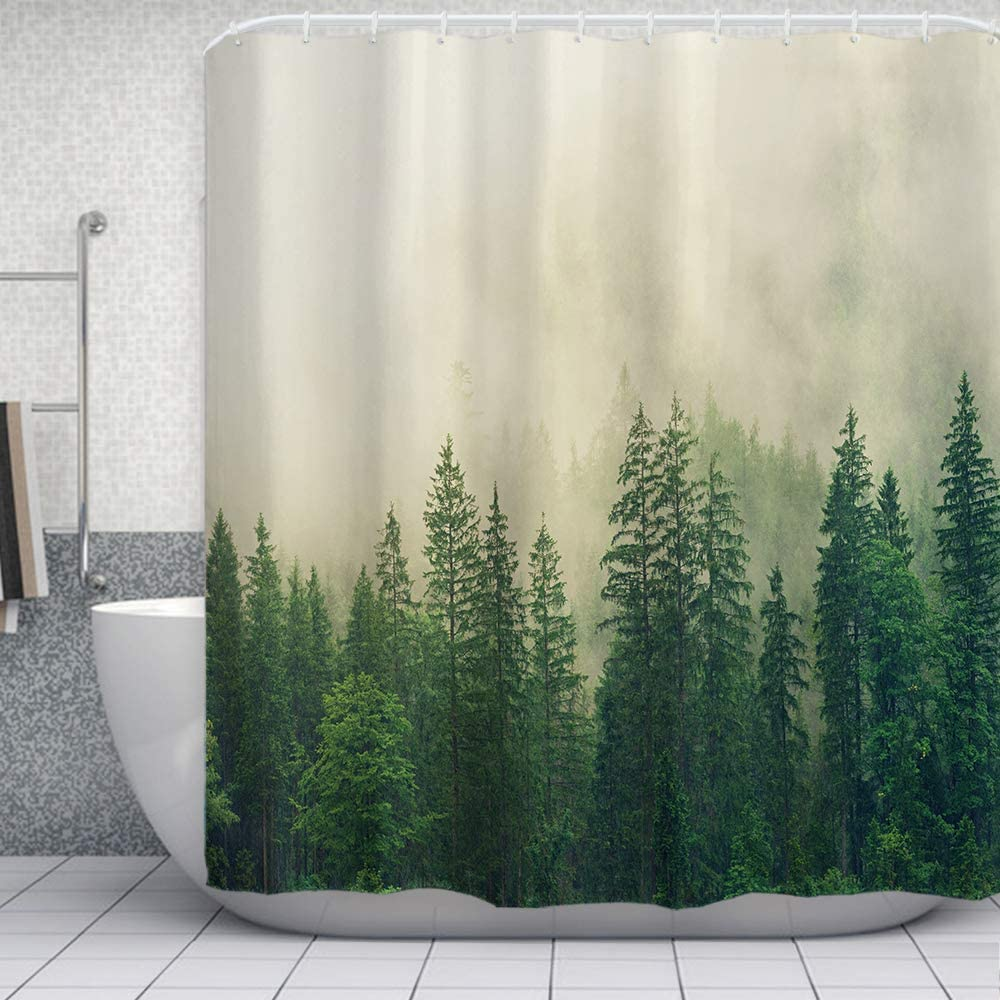 "ORTIGIA Misty Forest Shower Curtains,Nature Shower Curtain,Woodland Shower curtain,Fantasy Fog Magic Tree Bath Curtain for Bathroom,Fall Shower Curtain,Waterproof Polyester Fabric-72""Wx72""L-with Hooks"
