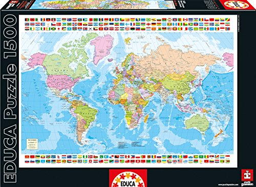 Educa Map of The World Puzzle (1500 Piece), One Color