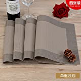 RUGAI-UE Place-mats Environmental protection Western-style food table pad antiskid insulation pad European plate hot meal protection pad four pieces,Light coffee