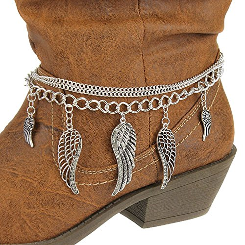 Layered Chain Rhinestone Angel Wings Western Cowgirl Boot Anklet Jewelry