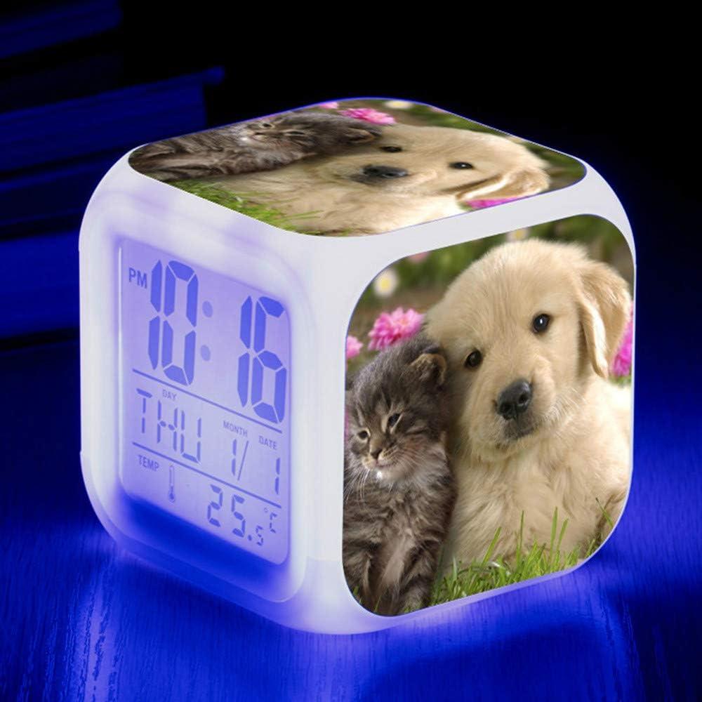 HUA Alarm clock Animaux Mignons Chien Coloré Quad Réveil