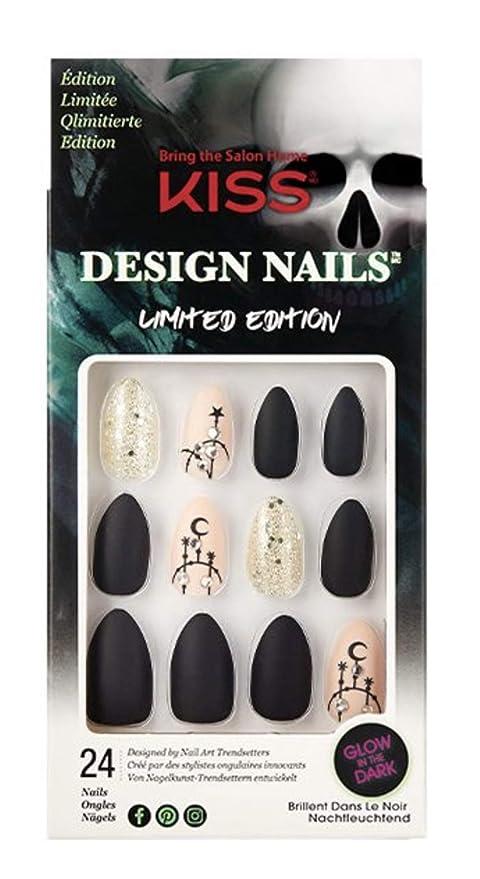 Amazon.com : Kiss Medium Length Almond Shape Black & Beige Nails 82648 Fredica Halloween Limited Edition : Beauty