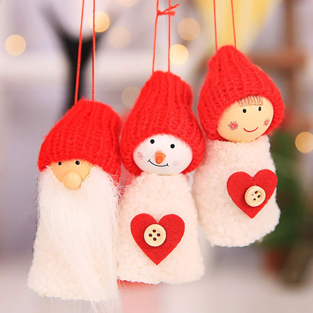 YUnnuopromi 3Pcs Pine Cone Doll Christmas Tree Hanging Pendant Ornaments for Xmas Party Decor 1#