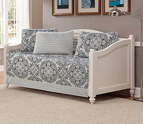 Bedding Quilted Collection (Mk Collection 5pc Day Bed Reversible Quilted Cover Set Floral Gray White Black New)