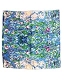 Image of Dahlia Women's 100% Luxury Square Silk Scarf - Claude Monet's Paintings