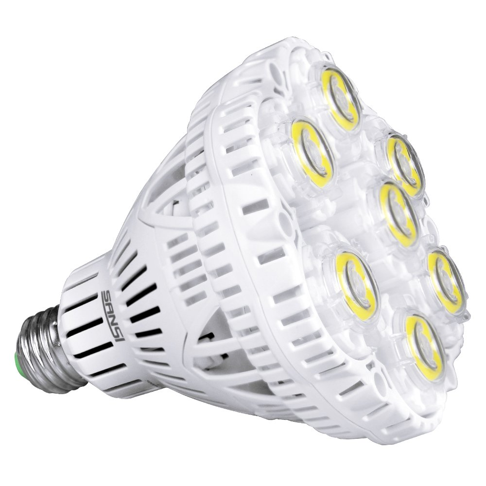 [UPDATED] SANSI 40W LED Light Bulb, 300-350W Equiv, 5000K Daylight, 5500lm Bright Bulb, Non-Dimmable, CRI 80, E26 to E39 adapter, BR30 Floodlight for Warehouse Church Barn Supermarket Logistic Center