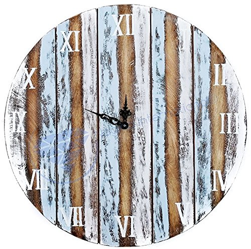 Nautical Antique Rustic Weathered Wooden Roman Numeral Outdoor Wall Clock - Pirate Home Decor - Nursery Wall Hangings - Nagina International (36 Inches)