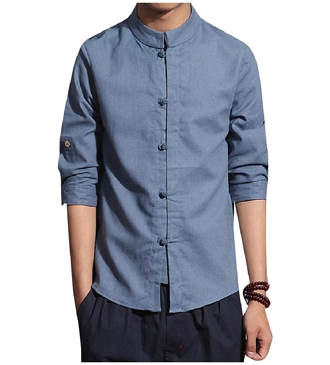 YUNY Mens Chinese Style Linen 3//4 Sleeve Back Cotton Western Shirt Denim Blue S