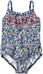 Baby Girls Floral Swimsuit  Blue  6-9 Months