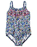 Carter's Baby Girls' Floral Swimsuit, Blue, 12 Months