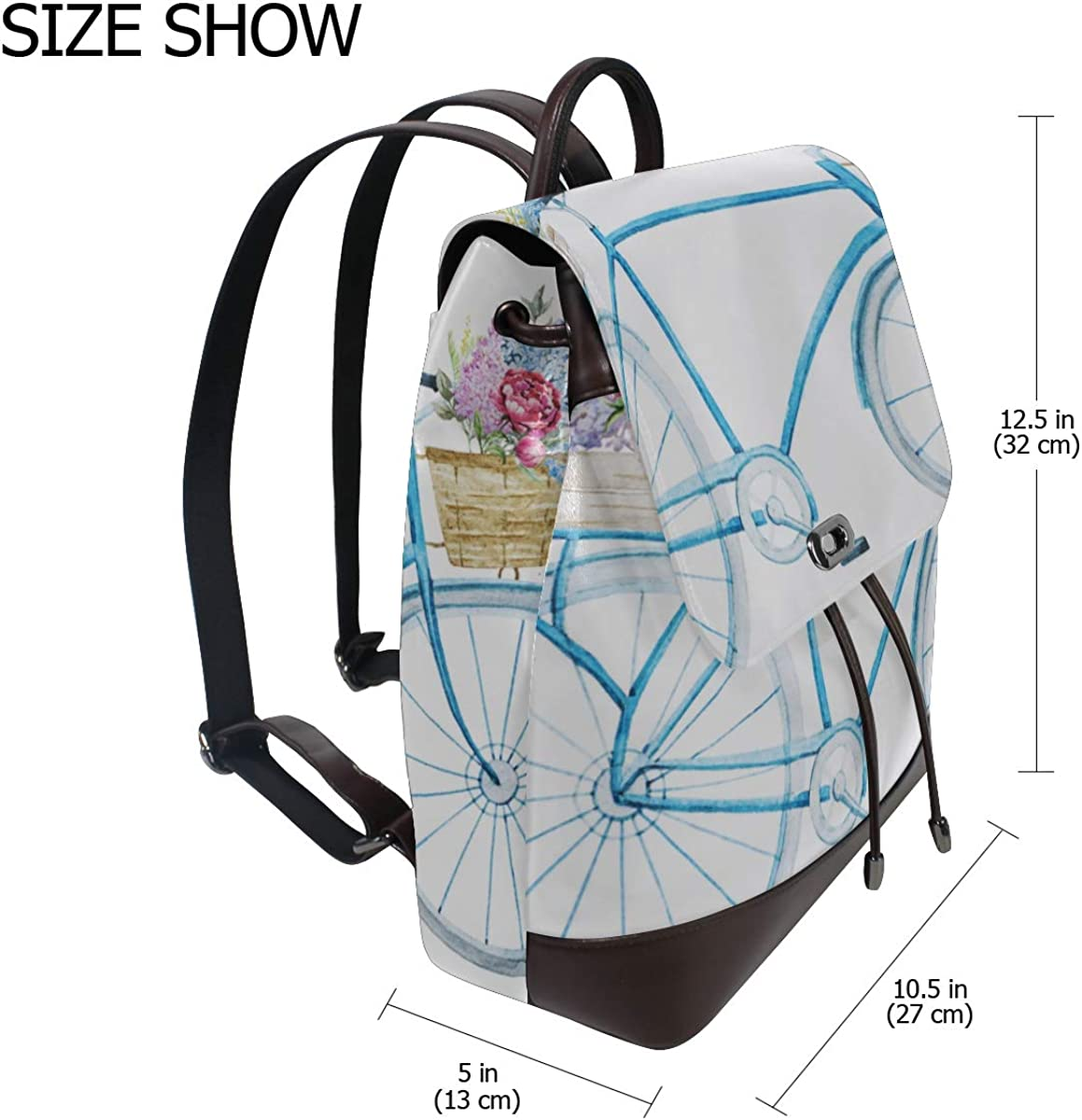 Cute And Cool Bicycle Modern Leather Backpack Fashion Shoulder Bag Drawstring Waterproof Fashion Bags For Girls Casual Leather Backpack For Women