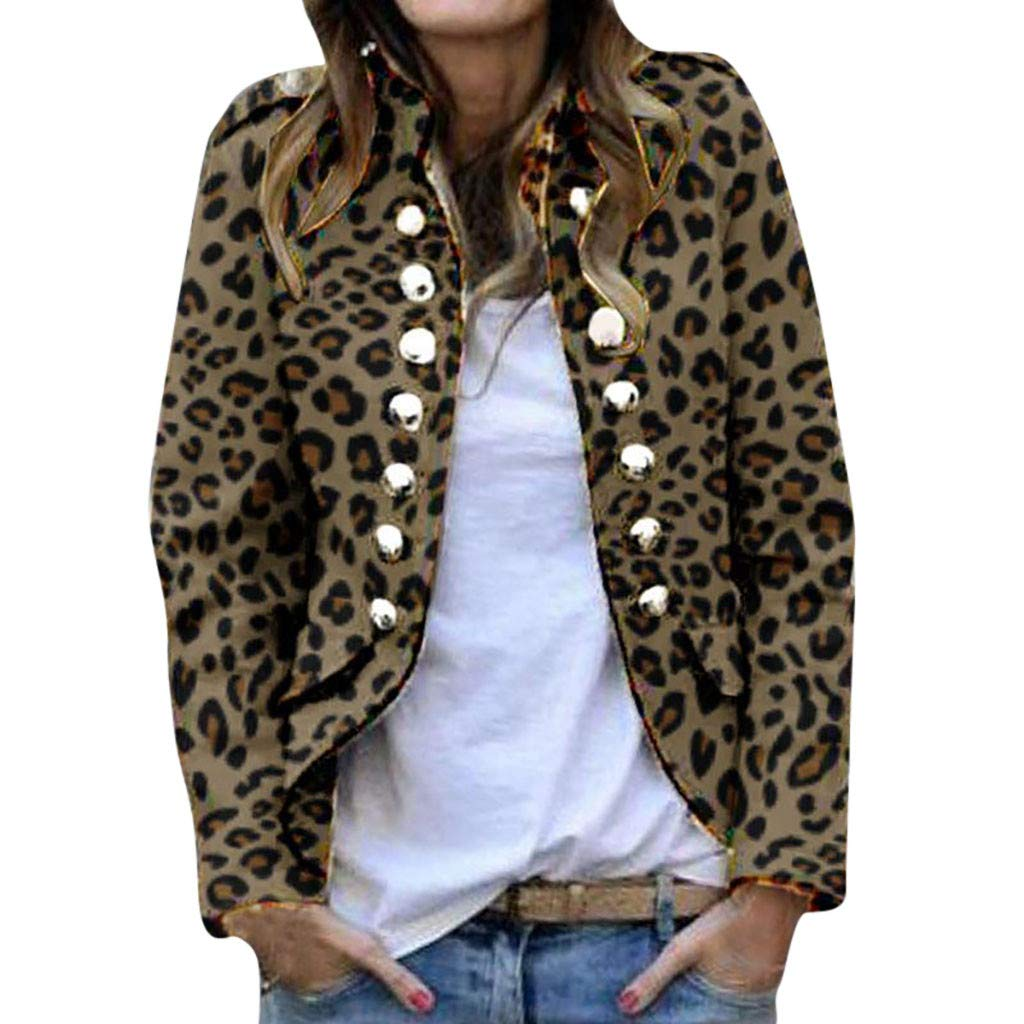 Lataw Women Jacket Coat Autumn Winter Print Fashion Button Long Sleeve Cardigan Tops Double-Breasted Outerwear Clothes by Lataw