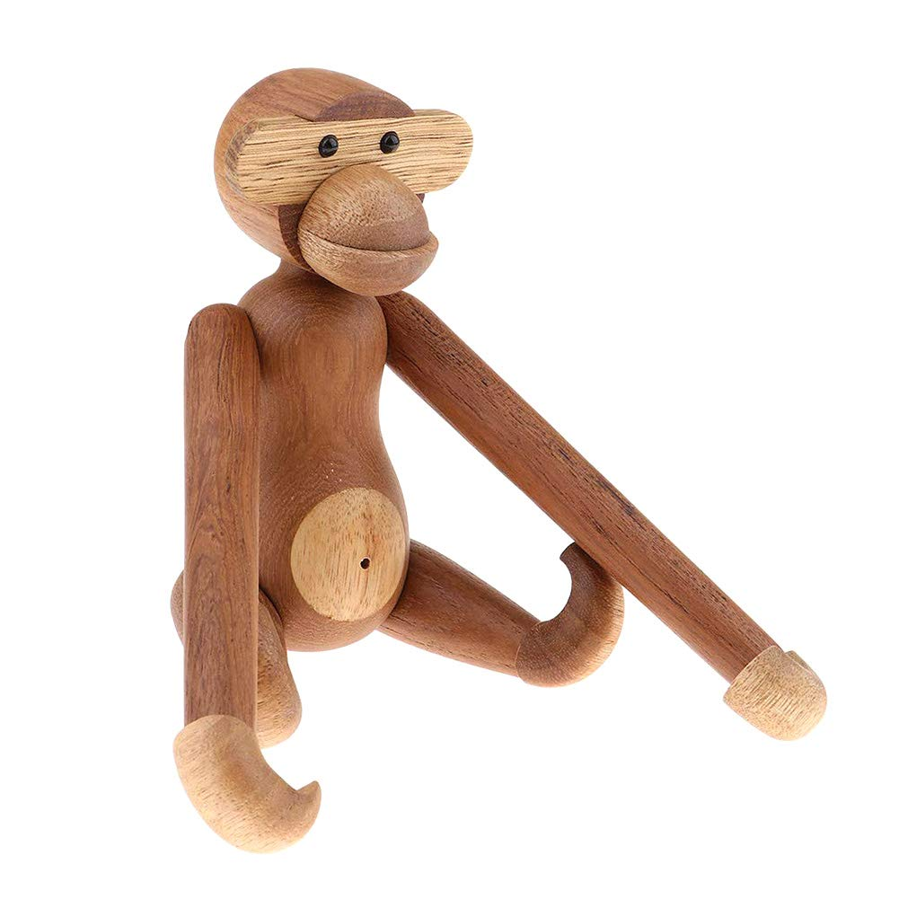20 cm iHOMIKI Figura Decorativa de Madera de Teca con Forma de Mono