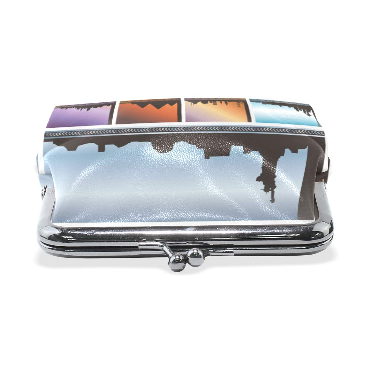 TIKISMILE Cityscapes Cards Leather Fashion Buckle Cute Coin Purse Bags Wallet
