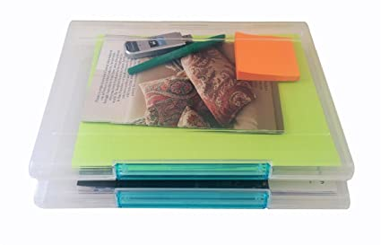 Set Of 2 Document Cases, Plastic File Organizers, Storage Containers W/  Jewel Tone