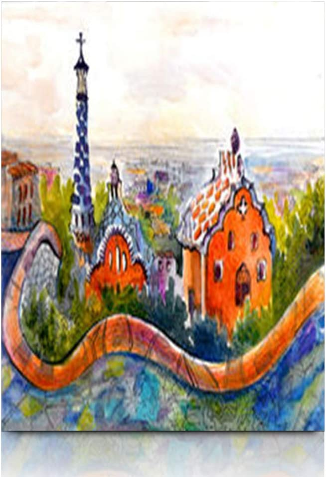 """Krezy Decor Canvas Print Wall Art 12""""x16"""" France Barcelona Antonio Park Que Lovely Watercolor Picturesque Colored Painting Spain Travel Stretched Artwork Painting Home Decor Living Room Office"""