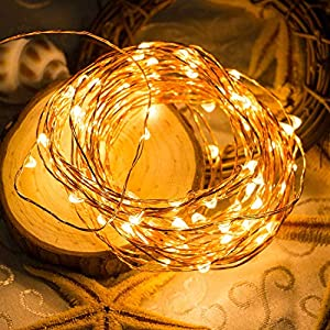 6 Pack Fairy Lights 7 Feet 20 LED Firefly Lights Battery Operated String Lights Copper Wire Starry Moon Lights for DIY Wedding Bedroom Indoor Party Decoration (Warm White)