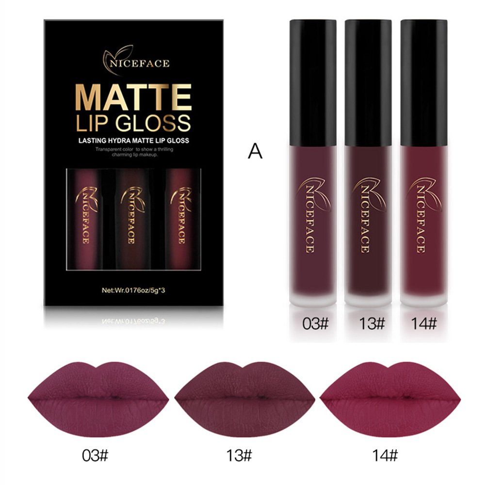 Coosa 3PCS of 3 Colors Madly MATTE Lipstick Non-stick Cup Waterproof Lipgloss-Set A Coosa hair
