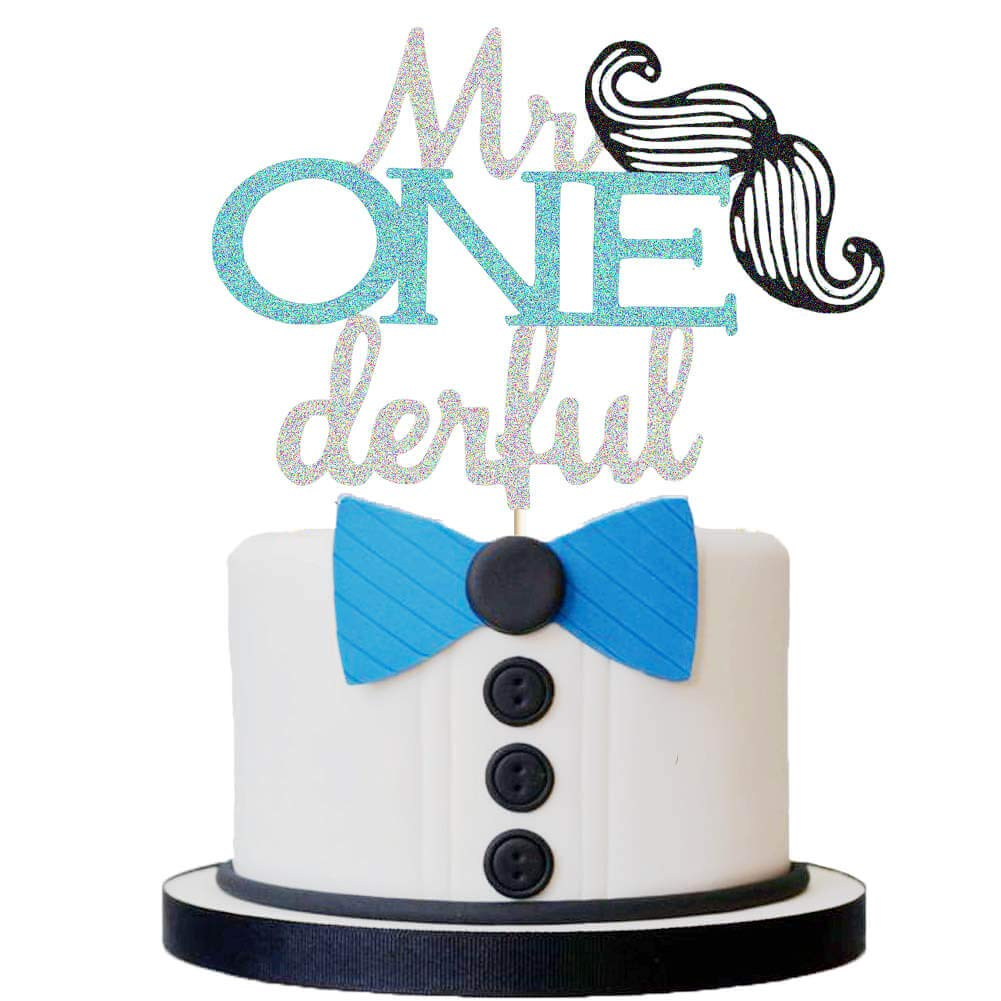 Terrific Mr Onederful Cake Topper Moustache First Birthday Party Cake Funny Birthday Cards Online Inifofree Goldxyz