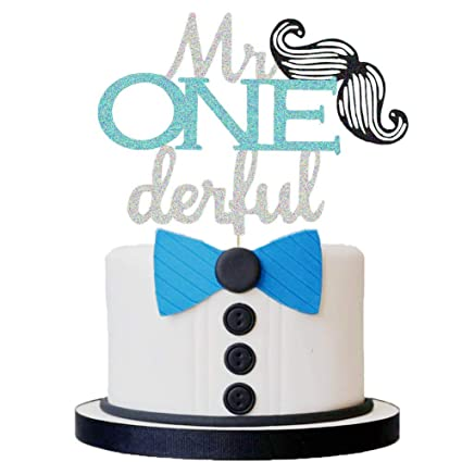 Amazing Mr Onederful Cake Topper Moustache First Birthday Party Cake Personalised Birthday Cards Arneslily Jamesorg