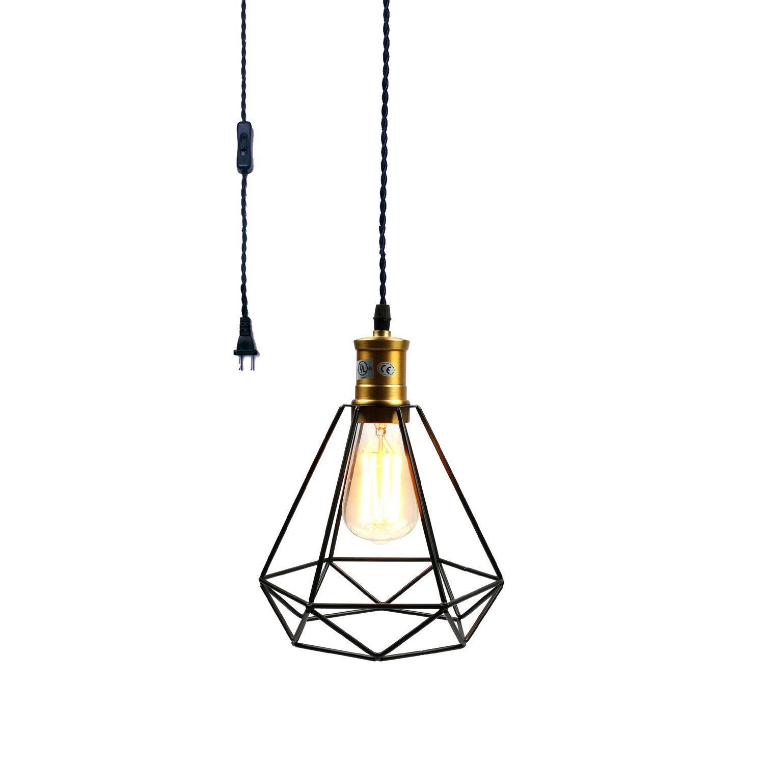 Pauwer Wire Cage Pendant Light Plug In Vintage Pendant Light with On/off switch (Black B)