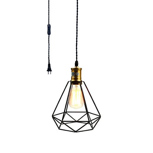 Pauwer Wire Cage Pendant Light Plug In Vintage Pendant Light With On