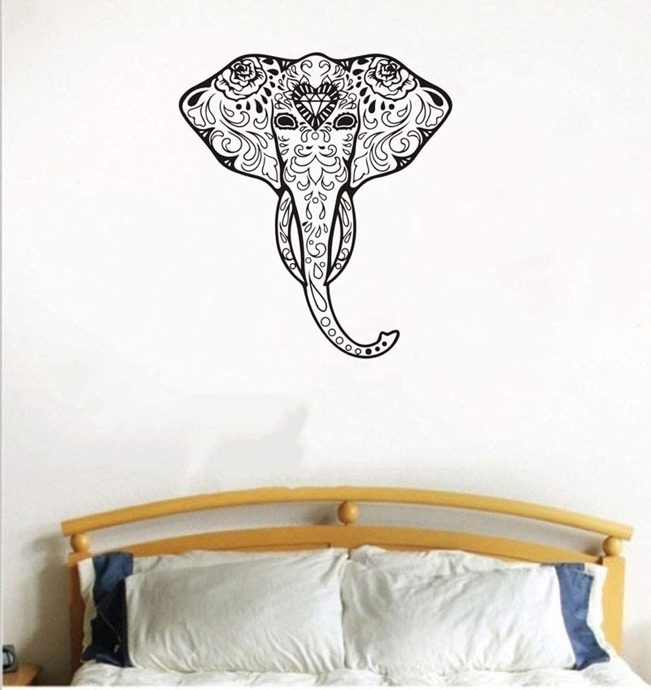 Amazon Com Uutag Tribal Black Elephant Head India Mandala Wall Decals Wall Stickers Peel And Stick Removable Wall Stickers Home Art Decor Mural Wallpaper For Home Office Living Room Bedroom Home Kitchen