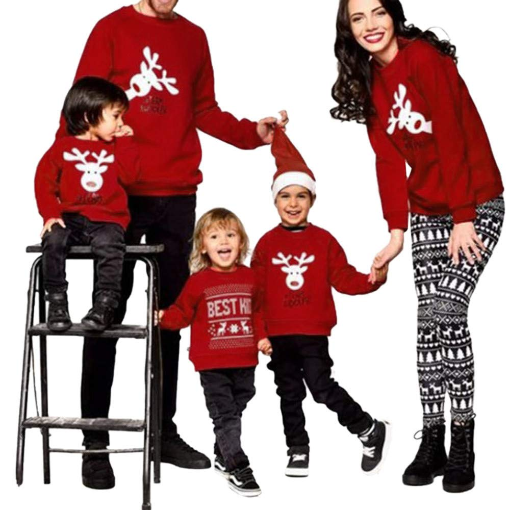 Luoluoluo Pigiama Pigiami Natale Famiglia Pigiami Donna Pigiama Uomo Pigiama Bambina Invernali - Felpe Natale Famiglia Maglioni Natalizi Felpa Maglie Natalizie