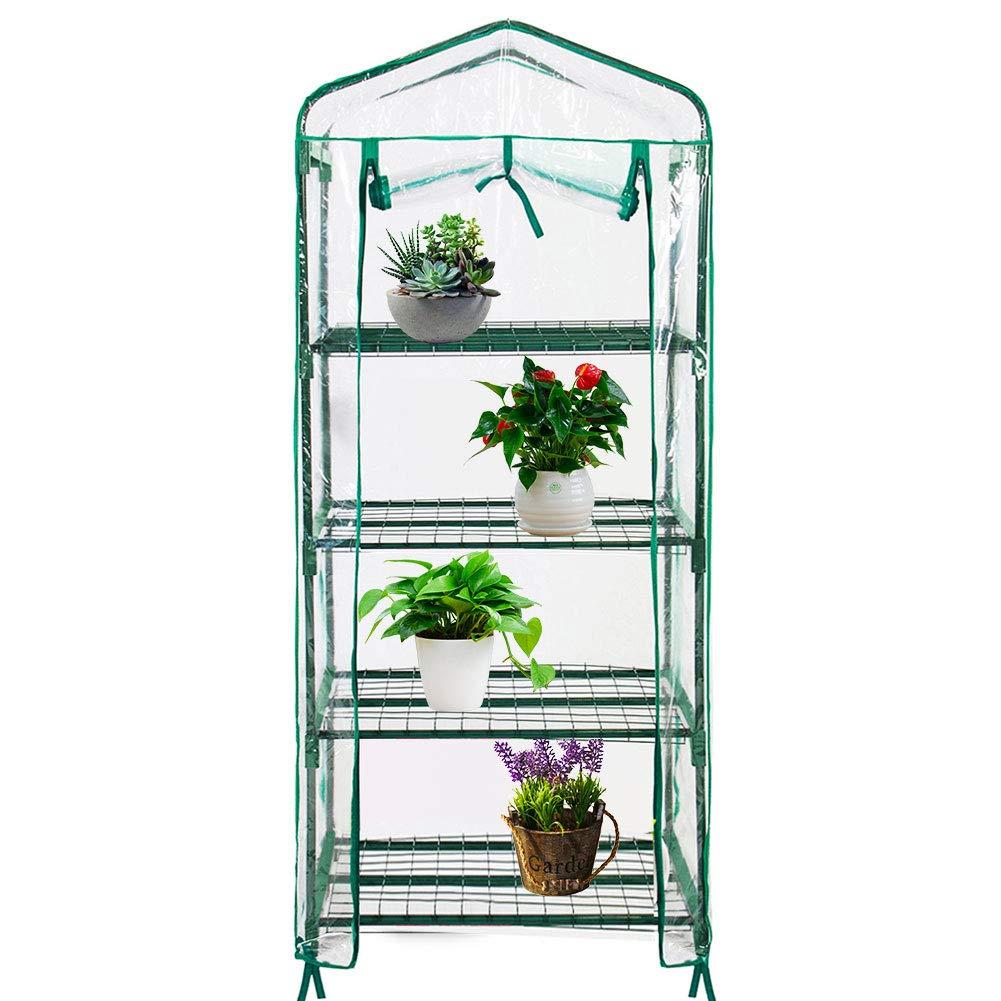 Quictent 27'' L x 19'' W x 62'' H Mini Greenhouse for Indoor Outdoor, 4-Tier Portable Garden Green House with Roll-Up Zipper Door