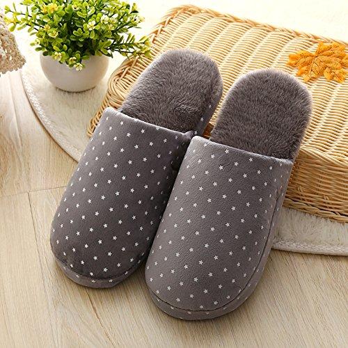 Y-Hui, el otoño y el invierno cálido zapatillas de algodón estrellas para los amantes de las mariposas en mobiliario doméstico suave piso inferior zapatas deslizantes,40/41 Código (para 3839), Gris