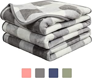 EASELAND Soft Blanket Warm Fuzzy Microplush Lightweight Thermal Fleece Blankets for Couch Bed Sofa,Twin,66x90 inch,Grey Plaid