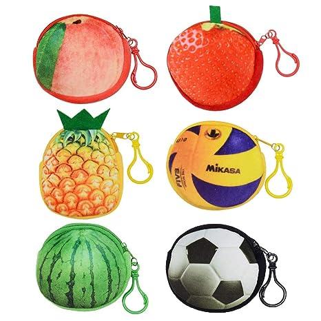 Monedero con Gancho, Creative 3D Plush Fruit Ball Coin Bag ...