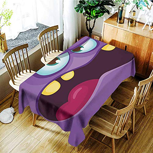 AGONIU Washable Tablecloth,Funny Angry Cartoon Monster face Halloween Illustration Prints Design for t-Shirts,Table Cover for Dining,W60x84L]()