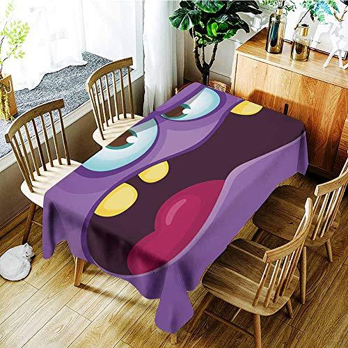AGONIU Rectangular Tablecloth,Funny Angry Cartoon Monster face Halloween