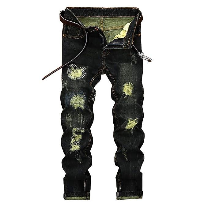 Männer Hose Herren Vintage Loch Jeans Printed Zipper Basic Hosen Skinny  Ausgefranste Mode 2018 Hose Fashion 789b2eba91