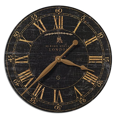 London Round Brass Pendulum Wall Clock | Black Crackled Face (Clocks London Wall Sale)