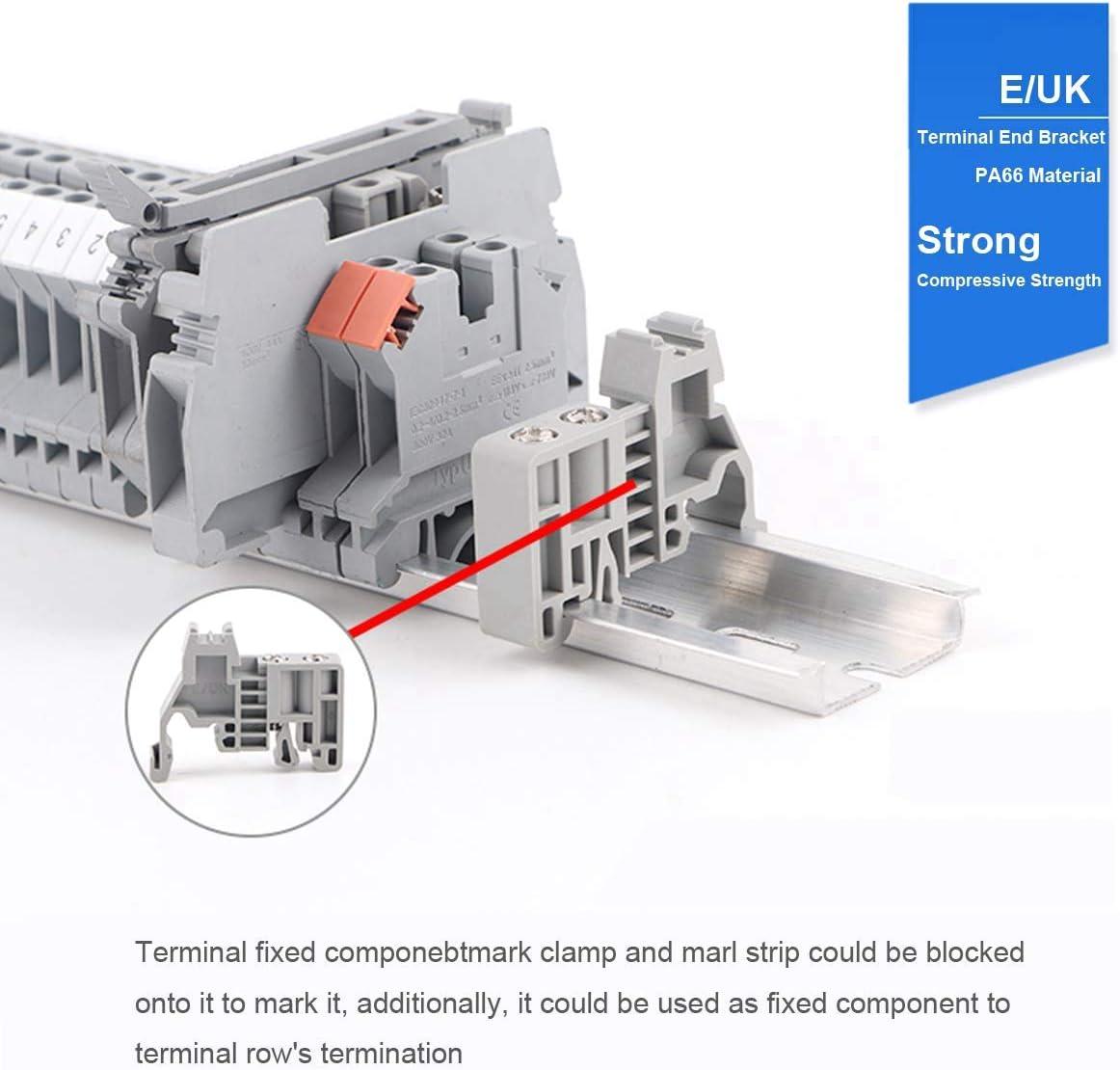 Sandis Kit de Borniers de Rail DIN Blocs de Mise /à la Terre Bornier Uk5N Rails en Aluminium Supports DExtr/éMit/é E//Uk Capuchons DExtr/éMit/é D-Uk Kits de Cavaliers de Pont