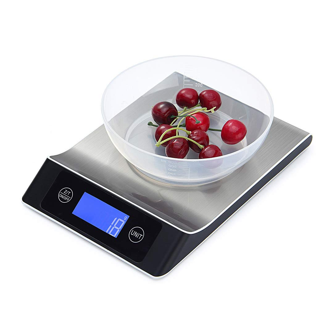 JDgoods High-Precision Intelligent Stainless Steel Flat Kitchen Scales, Digital Kitchen Multifunction Food Scale baking Scale With Large Back-lit LCD Display, Waterproofing, Easy to Clean (A)