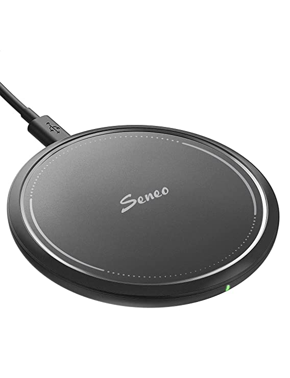 Wireless Charger, Seneo 10W Fast Qi Wireless Charging Pad, 7.5W Compatible iPhone Xs Max/Xs/XR/X/8/8P/New Airpods, 10W Compatible Galaxy S10/S9/Note 9 (QC3.0 Adapter is Needed, No AC Adapter)-Black best wireless phone charger
