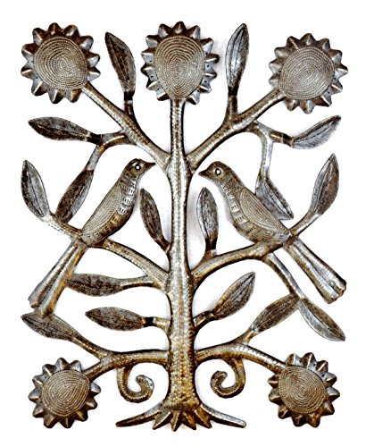 Tree of Life Love Birds, Haitian Metal Art, Recycled Oil Drum