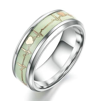 932811663b Fashion Dark Luminous ECG Ring Stainless Steel Ring Promise Heartbeat Ring  Glowing Jewelry for Men Women|Amazon.com