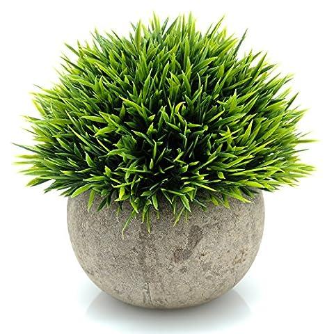 Velener Mini Plastic Fake Green Grass of Plants with Pots for Home Decor (Outdoor Decor)