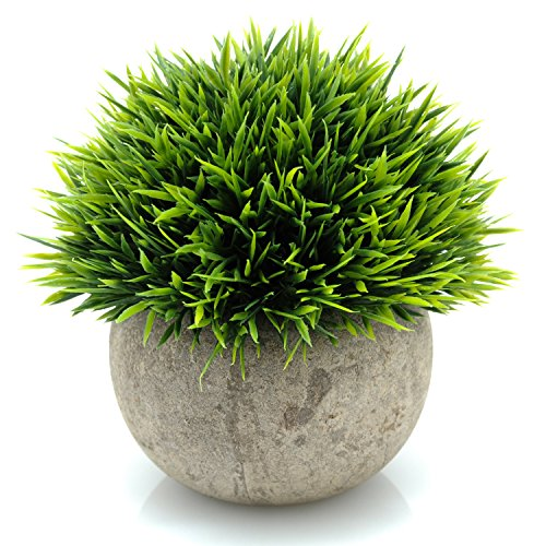 Velener Mini Plastic Fake Green Grass of Plants with Pots for Home Decor (Tall Paper Pulp)
