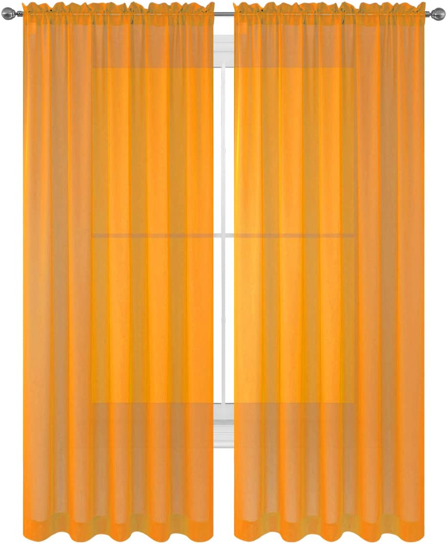 """WPM World Products MART Drape/Panels/Scarves/Treatment Beautiful Sheer Voile Window Elegance Curtains Scarf for Bedroom & Kitchen Fully Stitched and Hemmed, Set of 2 Orange (Orange, 84"""" Inch Long)"""