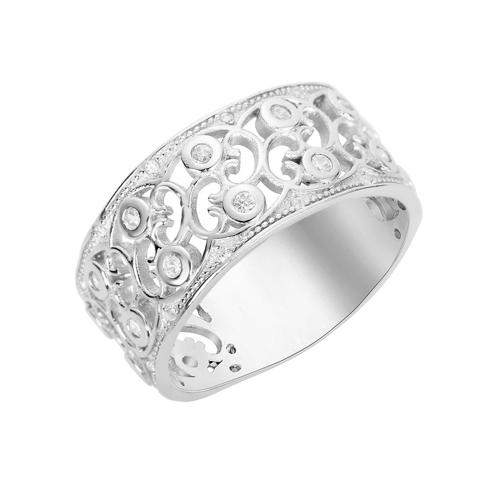 CloseoutWarehouse Cubic Zirconia Pave Filigree Ring Sterling Silver Size 8