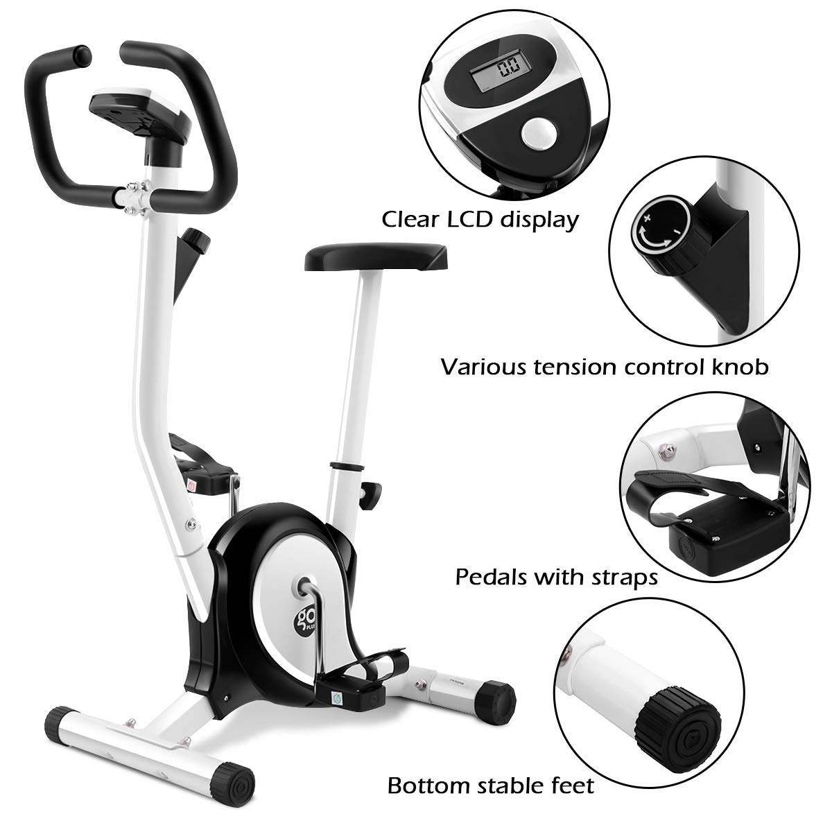 Goplus Upright Exercise Bike Magnetic Stationary Cycling Fitness Cardio Aerobic Equipment (White + Black)